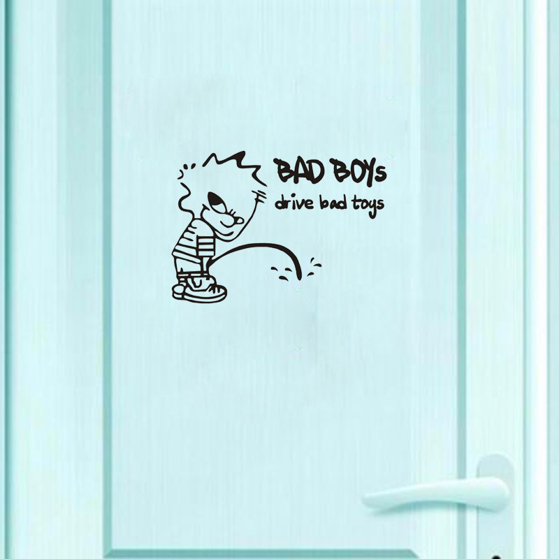 Funny Black Bad Child Vinyl Decoration Toilet Door Stickers 2WS0068