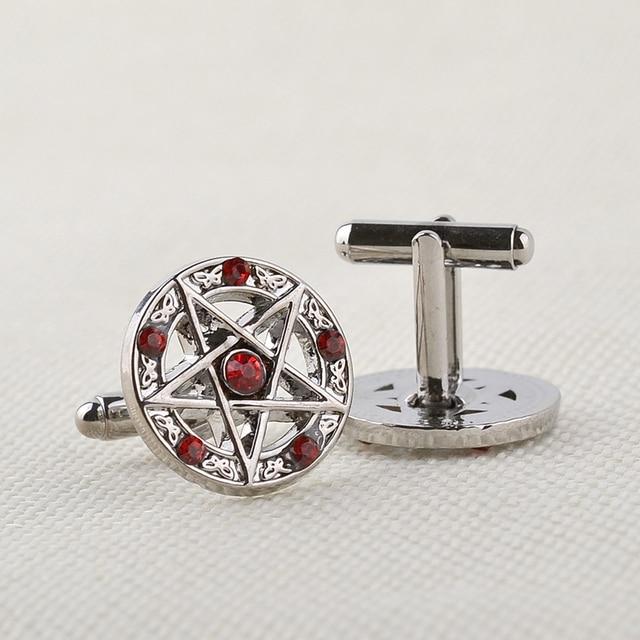 Pentagram and Butterflies Design Cufflinks