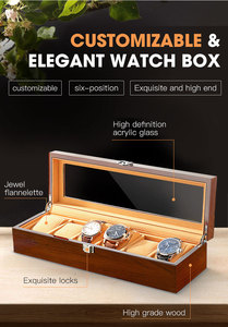 Image 4 - New Wood Watch Display Box Organizer Black Top Watch Wooden Case Fashion Watch Storage Packing Gift Boxes Jewelry Case