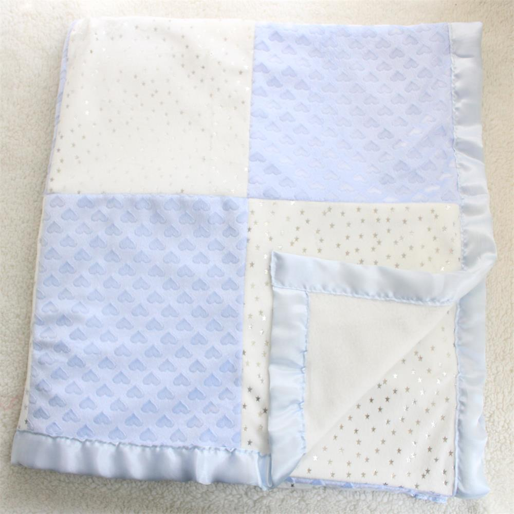 80X110cm 2 Layers Star Heart Pattern Patchwork Fleece Coral Minky Soft Thermal Toddler Child Baby Blanket Bedding Quilt Swaddle