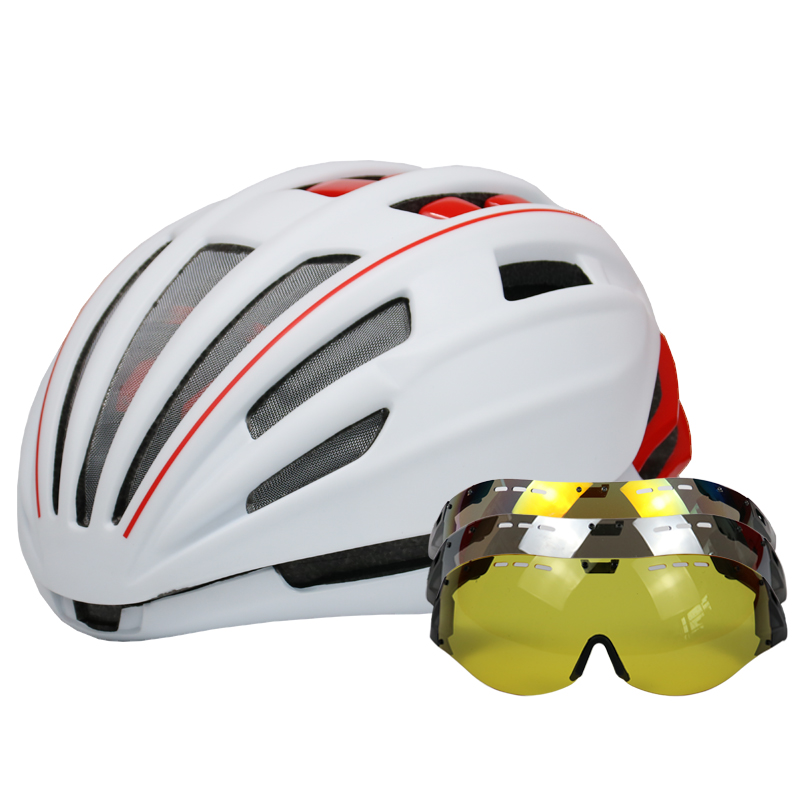 LOCLE 280g Goggles Cycling Helmet Insect Net Road Mountain MTB Bike Bicycle Helmet With Lens Helmet