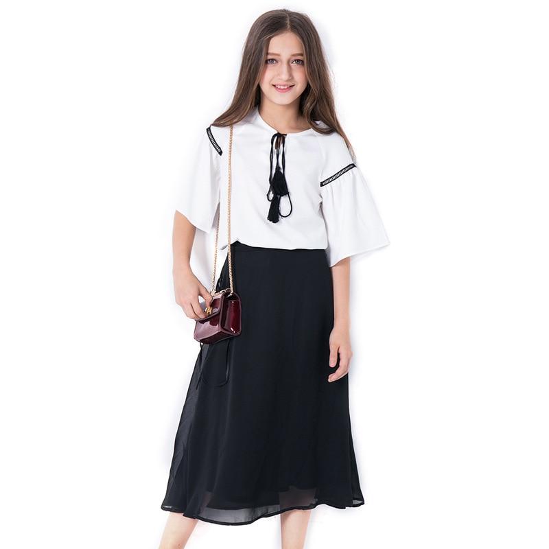 2018 Girl Summer Sets New Children's Skirt 2PCS College Chiffon Clothing Set White Half Sleeve Blouse Black Long Skirts Suits meifeier 407 women s fashionable knitted chiffon blouse apricot l