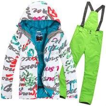 Promotion 2015 womens ski suit ladies snowboarding suit skiwear letter scrawl jacket + green pants waterproof breathable 7colors