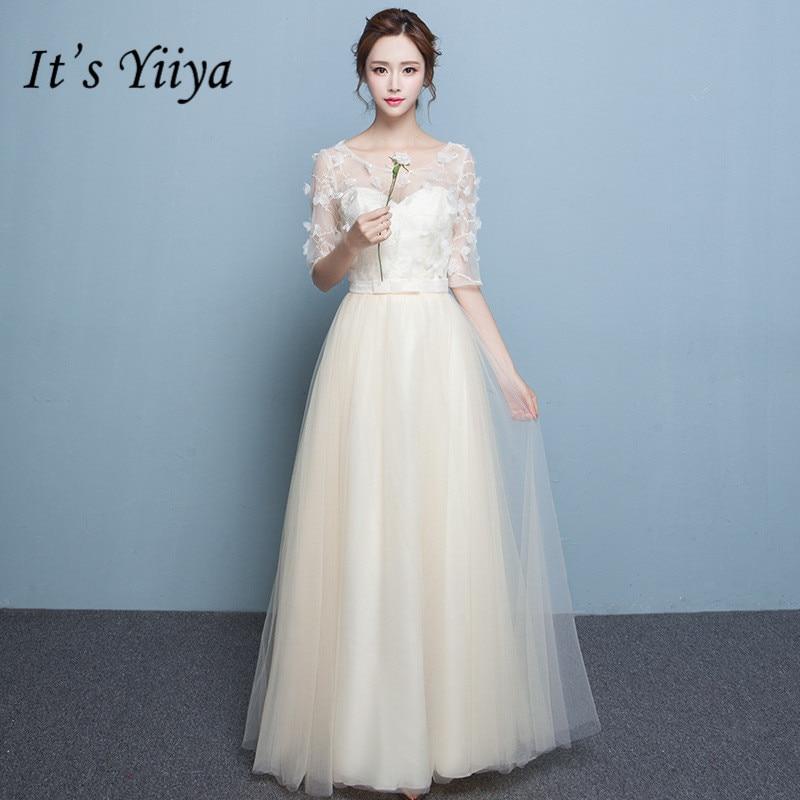 It's YiiYa Summer A-line Half Sleeve Bridesmaid Dresses Fashion Champagne Floor-length  Illusion Tulle Frocks QH004