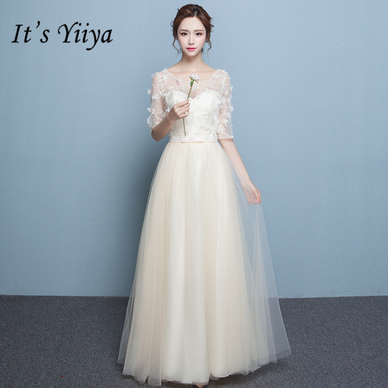 It's YiiYa Summer A line Half Sleeve Bridesmaid Dresses Fashion Champagne Floor length Illusion Tulle Frocks QH004