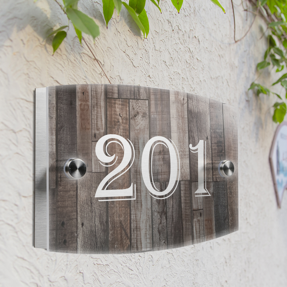 Wood grain personalized modern house number door sign plaque street acrylic matte glass top