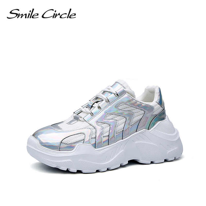 Smile Circle Fashion Sneaker wedges shoes women chunky platform sneakers  ladies shoes white Silver 2019 new 063e5212aeee