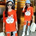 Conjuntos de Roupas meninas Outono Roupas de Manga Comprida T-shirt + Calças de Treino de Algodão Crianças Terno Ternos dos Esportes das Crianças definir 6 8 10 Anos