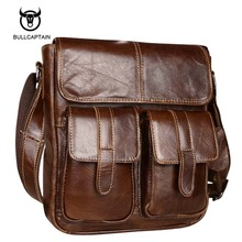 Bullcaptain 2017 New Arrival Men's Shoulder Bag Satchel Genuine Cowhide Leather Messenger Bags For Men Rugged Portfolio