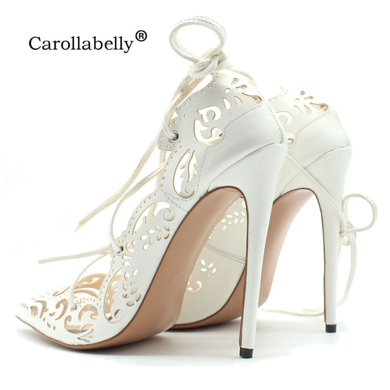 Carollabelly Sexy Women Roman Gladiator Sandals See Through Shoes Openwork Ankle Cross Tied Thin High Heel 12CM
