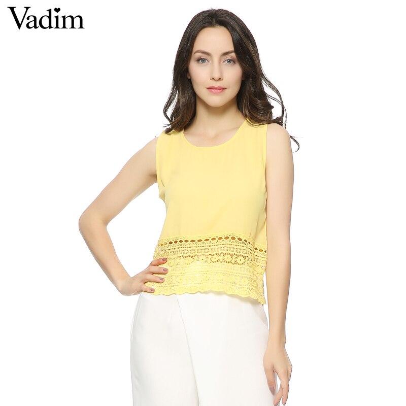 Vadim Women sweet lace tan tops O neck back split sleeveless shirts stylish casual slim brand tops WT113