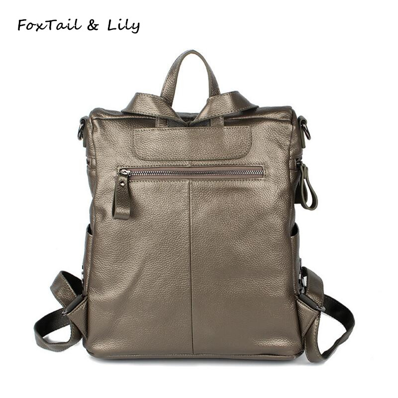 все цены на FoxTail & Lily New Fashion Multifunction Genuine Leather Backpacks High Quality Women Shoulder Bags Casual School Bag for Girls