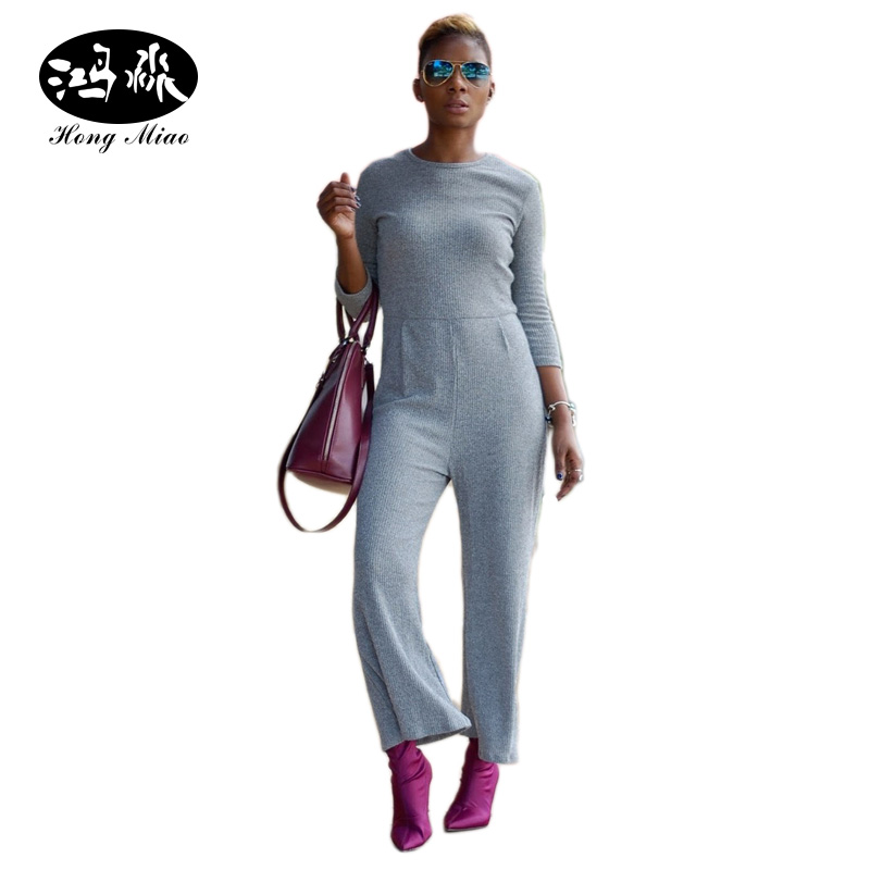 HongMiao 2017 Women Knitting Designer Jumpsuit Long Sleeve Boot Cut Pant One Piece Jumpsuits Outfits Rompers Casual Clothing