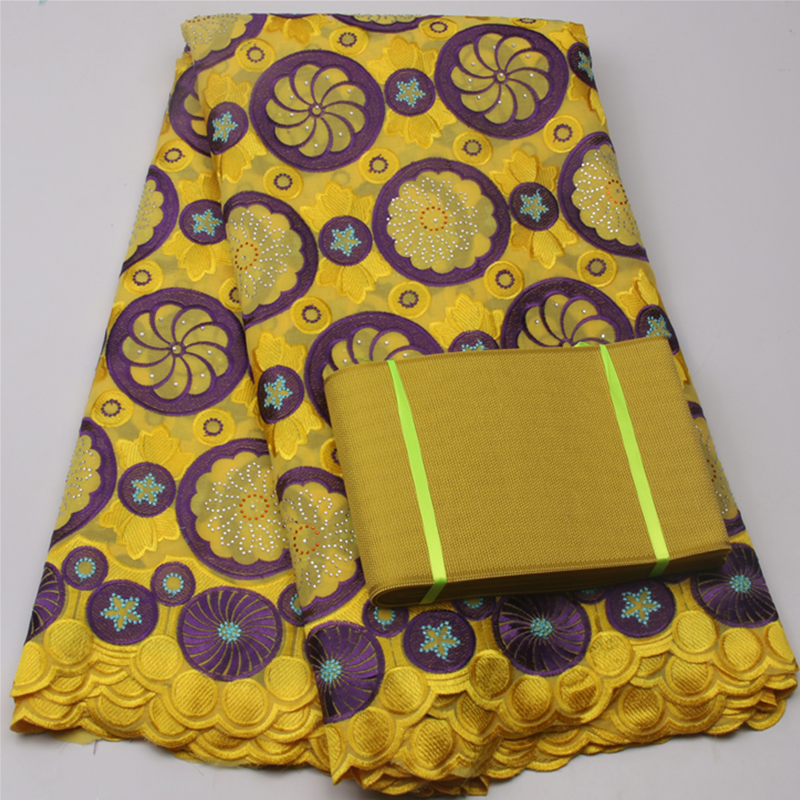 New Samples African French Voile Guipure Lace Fabric With Aso Oke On Brown Yellow Color MR503B