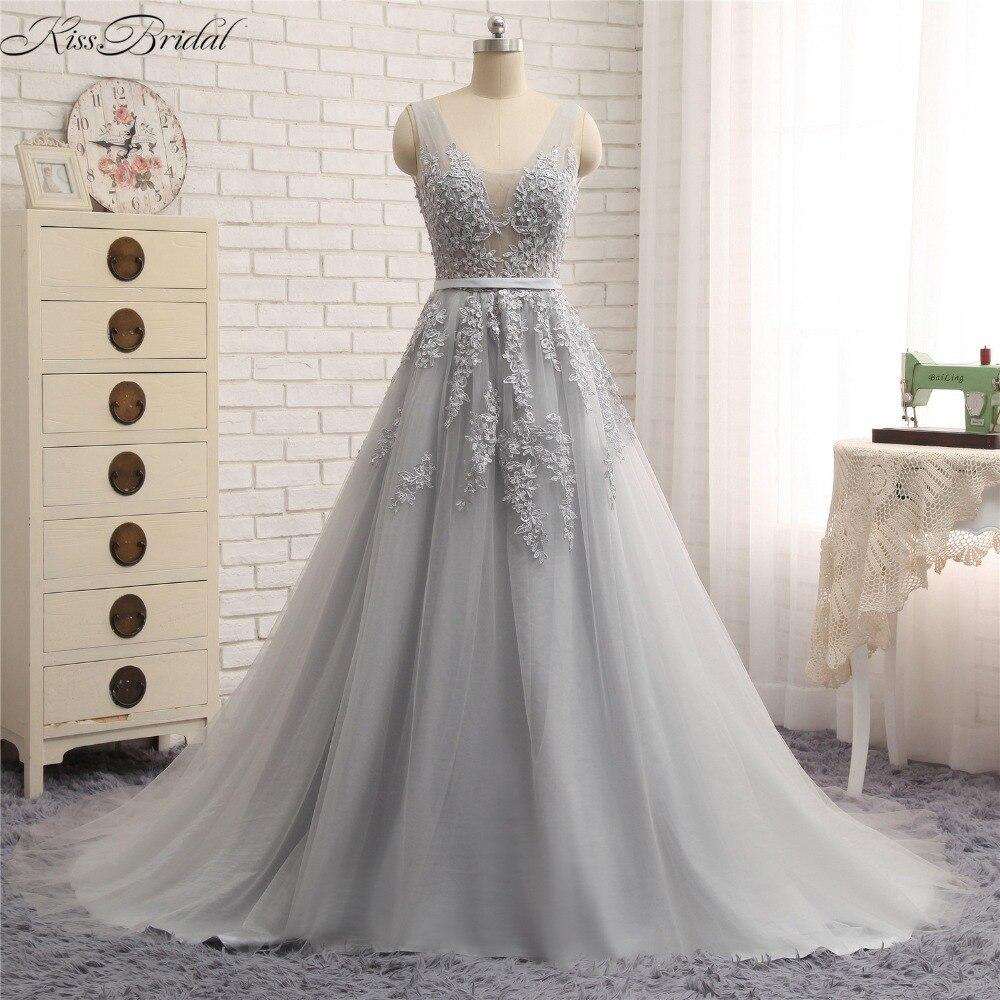Vetsido de festa 2018 nouveau élégant a-ligne robes de soirée pour les femmes dos nu Tulle dentelle formelle robes de soirée robe de bal a-ligne