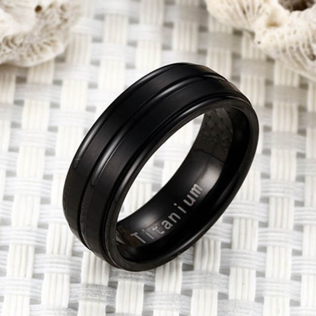 34a5d7ccc6ec9 US $4.0 |Quality Mens Titanium Ring Black Silver Gold Color Wedding Ring  Matte Finished 2 Lines 316L Stainless Steel Band Ring for Men-in Rings from  ...