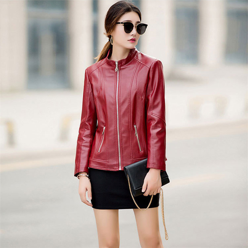XL-6XL   Leather   Jacket For Women 2018 New Winter Women Coat Fashion Casual Stand Collar Faux   Leather   Women's   Leather   Jacket