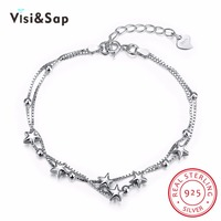 Visisap 925 솔리드 실버 보석 팔찌 패션 로맨틱 스타 팔찌 로맨틱 기념일 선물 보석 VSVH057