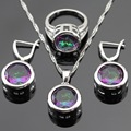 Round Multicolor Rainbow Created Topaz Silver Color Jewelry Sets For Women Christmas Earrings/Necklace/Pendant/Ring Gift Box