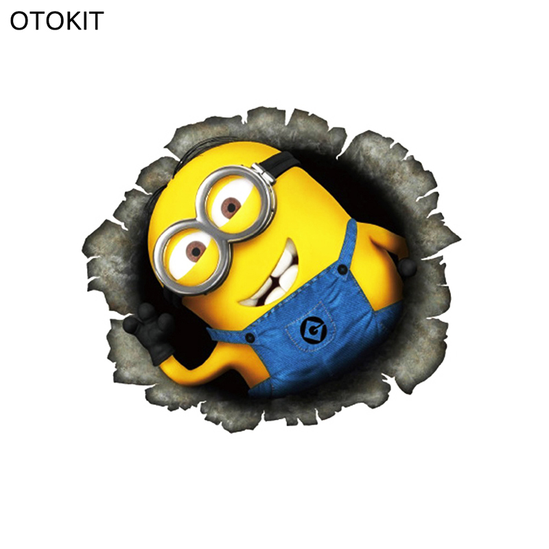 Despicable Me Minions Cute Funny Cartoon Glue Sticker Car Decal Covers Waterproof Reflective on fuel tank