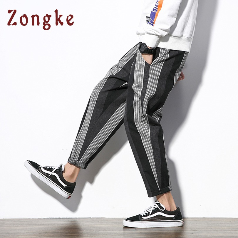 Zongke Chinese Style Cotton Linen Harem Pants Men Trousers Streetwear Sweatpants Hip Hop Pants Mens Trousers Men Pants 2019 New At Any Cost Pants