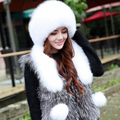 2016 Genuine Fox Fur Hats Women Real Fur Bomber Hat for Russian Women , Fashion Princess Cap With Natural Rex Rabbit Fur Top
