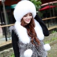 2016 Genuine Fox Fur Hats Women Real Fur Bomber Hat for Russian Women , Fashion Princess Cap With Natural Rex Rabbit Fur Top