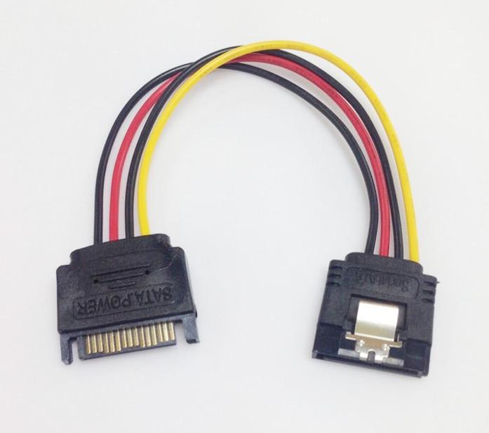 bilder für 100 teile/los 18AWG 15 Pin SATA Männlich zu Weiblich 15 Pin 15 P SATA Adapter Power-verlängerungskabel Drahtseil