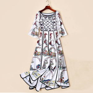 Image 5 - AELESEEN Summer Bohemian Women Long Dresses Luxury Flare Sleeve Runway Fashion 2019 Floral Print Asymmetrical Designer Dress