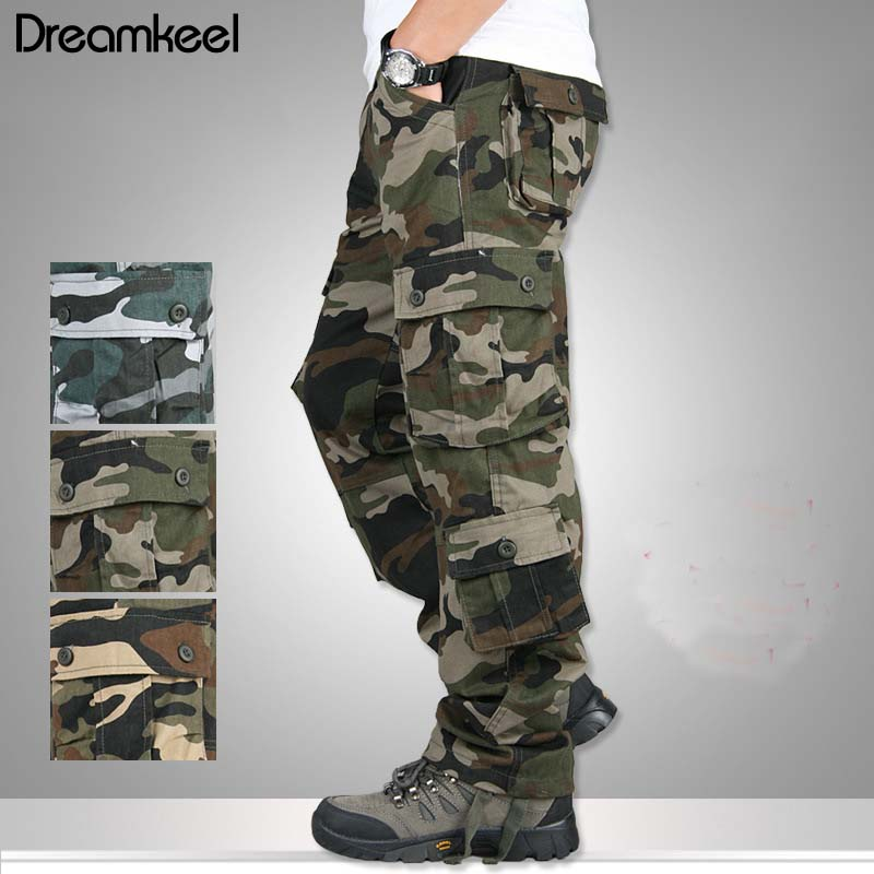 2019 Baggy Combat Multi-pockets Casual Trousers Camouflage Military Cargo Pants Men Outwear Overalls Army Tactical Pants Y(China)