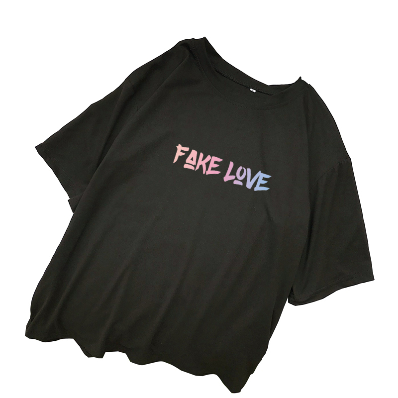 FAKE LOVE Album T Shirts Women Summer Korean Kpop Letter Print Tshirt Harajuku Casual Kawaii Tops Streetwear Camisas Mujer Shirt