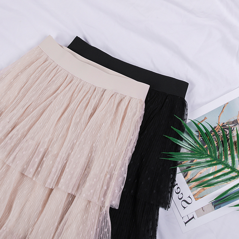 Image 4 - Fitaylor Spring New Sweet Cake Layered Long Mesh Skirts Princess High Waist Ruffled Vintage Tiered Tulle Pleated ins Skirts-in Skirts from Women's Clothing