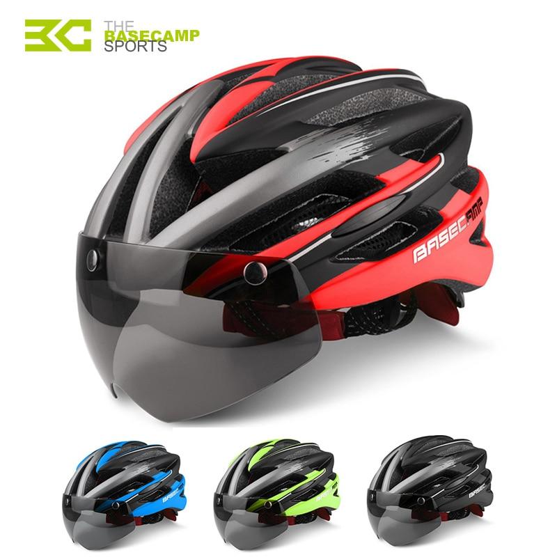 9ba98fea40fb4 BASECAMP Bicycle Helmets Sunglasses Visor Cycling Glasses Helmet 3 Lens  Integrally Molded Men Women Mountain Road Bike Helmets