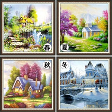 5D DIY Full diamond mosaic embroidery bedroom Spring Summer Autumn Winter scenery painting cross stitch