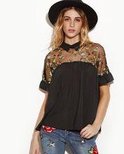 Black Short Sleeve Loose Blouse Casual Shirt Tops Clothing Fashion Women S Lady Summer