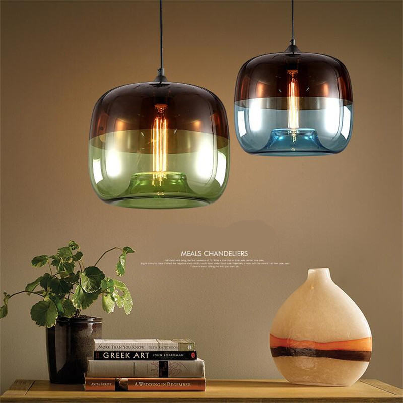 Vintage Fashion Creative Handmade Green/Blue Glass Led E27 Pendant Light For Dining Room Living Room AC 80-265V 2162 gilbert e big magic creative living beyond fear