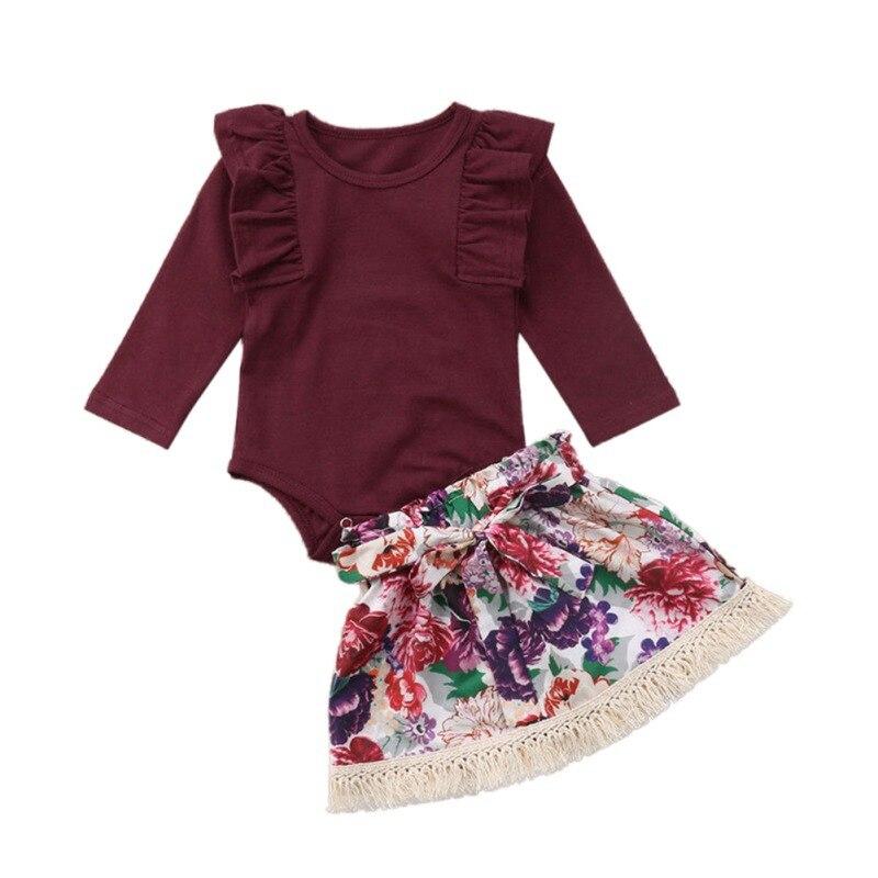 2019 nouveau mode été bébé nouveau-né fille barboteuse ensemble à manches longues barboteuse motif Floral jupes courtes avec bandeau Costume ensemble