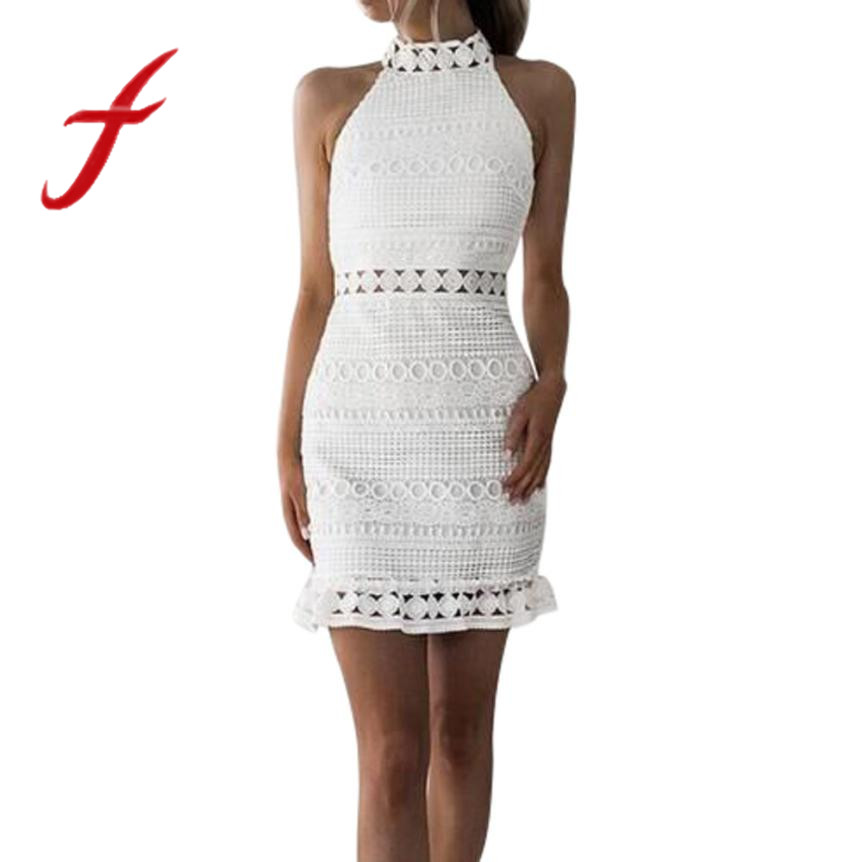 Feitong Vintage hollow out lace dress women Elegant sleeveless white dress  summer chic party sexy dress 63354752bc85