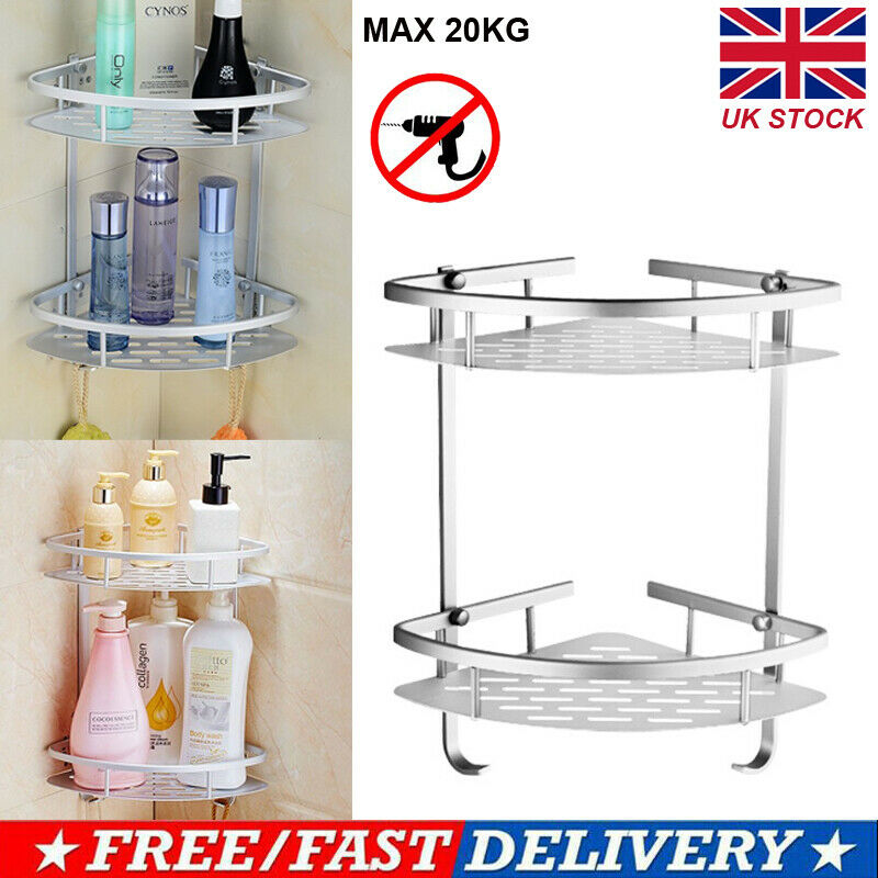 2 Layer Metal Bathroom Corner Shelf Rack Caddy Storage Bath Shower Rack Holder Triangular Shampoo Organizer