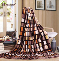 HAKOONA Modern Blanket Super Soft Throw Bedding Brown Beige Blocks Single Queen Size Summer Flannel Throws New
