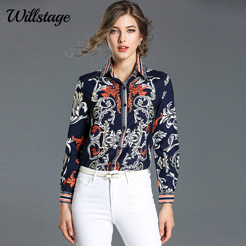 Willstage Pattern Blouse Women Long sleeve Floral Striped Printed Shirts Colorful Elegant Office ladies OL work wear Spring Tops