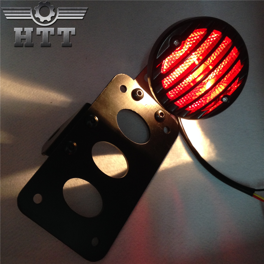 Aftermarket free shipping Motorcycle Plate Holder Bracket with LED Tail Light Brake Light For Harley Softail Touring SporsterBK aftermarket free shipping motorcycle parts led red tail light collar cover for harle xl flstf touring models flhrc flhtc