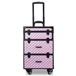 المحمولة المهنية عربة حقيبة مستحضرات التجميل حقيبة حقيبة للماكياج مع عجلات سعة كبيرة النساء صندوق الأظافر الجمال الأمتعة