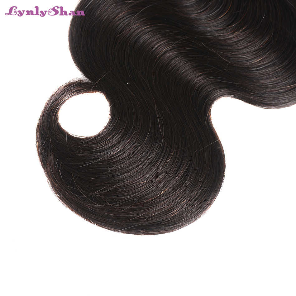 Lynlyshan Hair Brazilian Body Wave With Lace Frontal  4 Bundles With 13*4 Free Middle Part Lace Frontal 100% Remy Human Hair