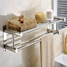 60 cm Acero inoxidable cromo estilo pared del baño toallero titular  almacenamiento estante doble toalla barras 5b77e95dea69