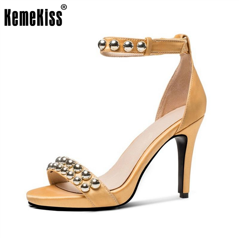 KemeKiss Size 33-42 Women Real Leather High Heel Sandals Women Rivets Buckle Strap Peep Toe Shoes Women Sexy Party Footwear coolcept sexy ladies real leather high heel sandals women platform slipper peep toe shoes sexy party party footwear size 34 39