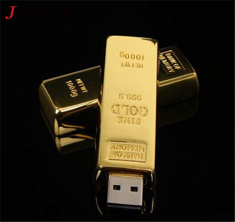 LOGOMAKER Store JASTER Hot newest customization wholesale limited edition Gold Bar USB 2.0 Flash Memory Drive Stick disk 8GB 16GB 32GB
