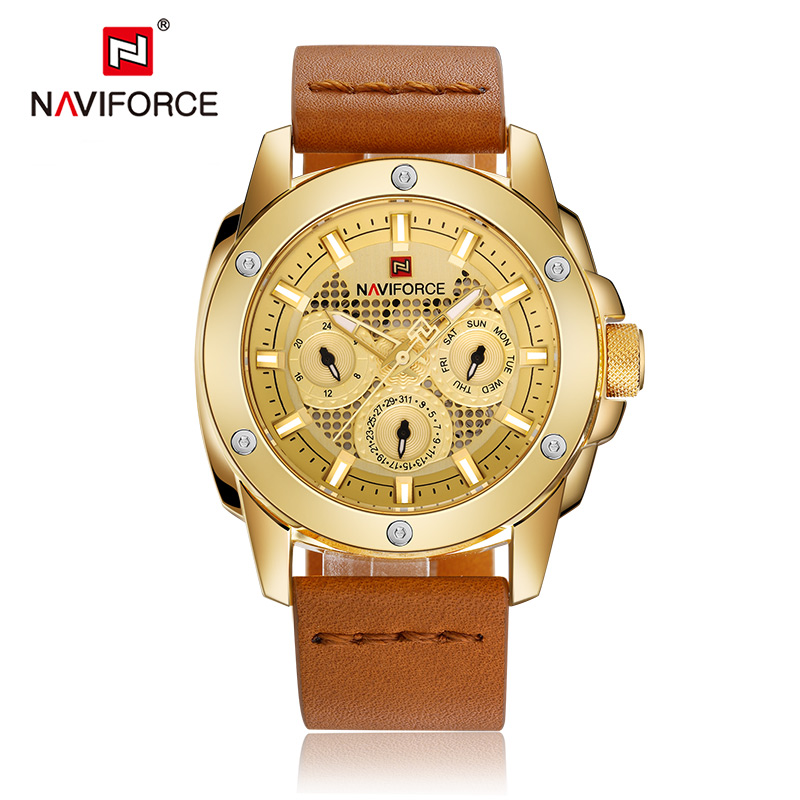 New Luxury Original Brand NAVIFORCE Men Fashion Sport Watch Men's Military Waterproof Analog 24 Hour Leather Quartz Wrist watch top luxury brand naviforce men sport watches fashion men s military waterproof clock analog 24 hour leather quartz wrist watch