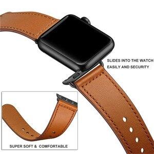 Image 4 - Correa de cuero genuino marrón correa de bucle para Apple Watch 4 3 2 1 38mm 40mm , VIOTOO hombres correa de reloj de cuero para iwatch 4 44mm