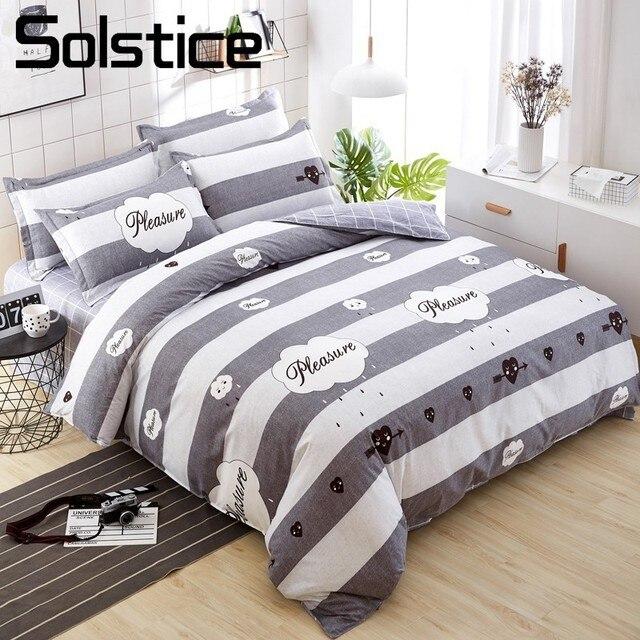 Solstice Home Textile Gray Stripe Boy Kid Teen Bedding Sets 3/4Pcs Bedlnen  Duvet Cover